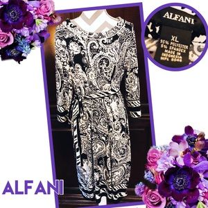 ALFANI Black & White Patterned Dress
